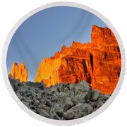Sunrise In Torres Del Paine Round Beach Towel
