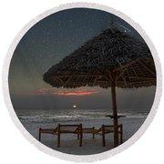 Sunrise In Tropical Beach Of Zanzibar With Starry Sky Round Beach Towel