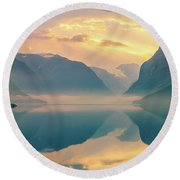 Sunrise Lovatnet, Norway Round Beach Towel