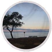 Sunrise, Moonfall Round Beach Towel