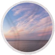 Sunrise Moonset - Feathery Clouds And Crescent Moon Over Water Round Beach Towel