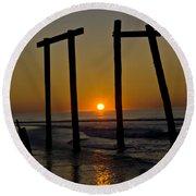 Sunrise At Ocean City Round Beach Towel