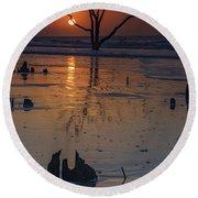 Sunrise On Boneyard Beach Round Beach Towel