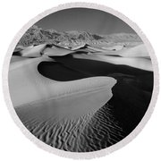 2a6856-bw-sunrise On Death Valley  Round Beach Towel