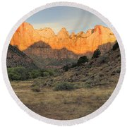 Towers Of The Virgin At Sunrise Round Beach Towel