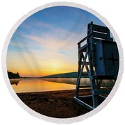 Sunrise On Eighth Lake 1 Round Beach Towel