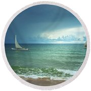 Sunrise On Indian Ocean Round Beach Towel