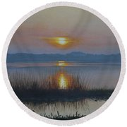 Sunrise On Lake Hollingsworth Round Beach Towel