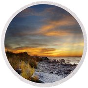 Sunrise On Mackinac Island Round Beach Towel