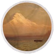 Sunrise On Mount Tacoma  Round Beach Towel by Albert Bierstadt