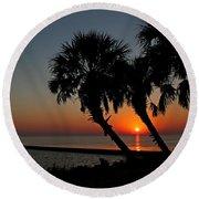 Sunrise On Pleasure Island Round Beach Towel