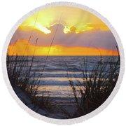 Sunrise On The Atlantic Round Beach Towel
