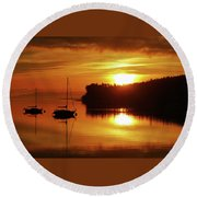 Sunrise On The Cove Round Beach Towel