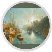 Sunrise On The Grand Canal Round Beach Towel