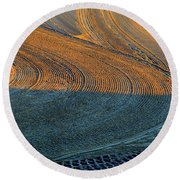 Sunrise On The Groomed Beach  Round Beach Towel