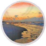 Sunrise On The Gulf Round Beach Towel