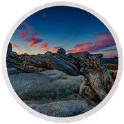 Sunrise On The Jeffrey Pine Round Beach Towel