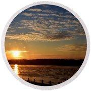 Sunrise On The Mississippi Round Beach Towel
