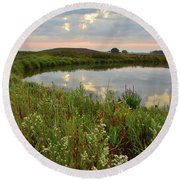 Sunrise On The Nippersink Round Beach Towel