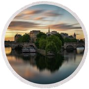 Sunrise On The Seine Round Beach Towel by James Udall