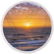 Sunrise Over Atlantic Ocean Round Beach Towel