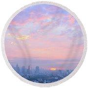Sunrise Over Bangkok Round Beach Towel