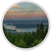 Sunrise Over City Of Vancouver Bc Canada Round Beach Towel