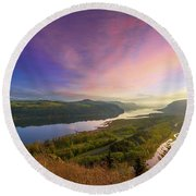 Sunrise Over Columbia River Gorge Round Beach Towel