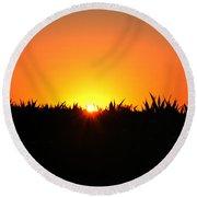 Sunrise Over Corn Field Round Beach Towel