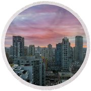 Sunrise Over Downtown Vancouver Bc Round Beach Towel