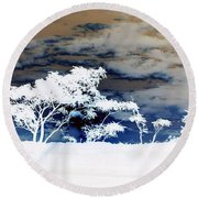 Sunrise Over Fort Salonga In Negative Round Beach Towel