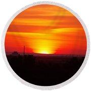 Sunrise Over Hanford  Round Beach Towel