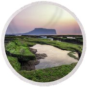 Sunrise Over Jeju Island Round Beach Towel