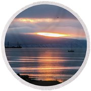 Sunrise Over Kachemak Bay Round Beach Towel