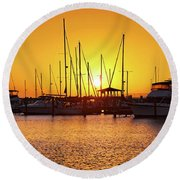 Sunrise Over Long Beach Harbor - Mississippi - Boats Round Beach Towel