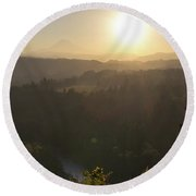 Sunrise Over Mount Hood And Sandy River Round Beach Towel