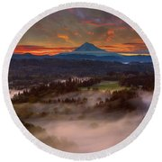 Sunrise Over Mount Hood And Sandy River Valley Round Beach Towel