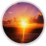Sunrise Over Ocean, Sandy Beach Park Round Beach Towel