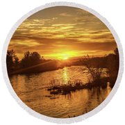 Sunrise Over  Payette River Round Beach Towel
