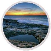 Sunrise Over Pemaquid Point Round Beach Towel