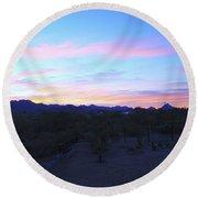 Sunrise Over Rincon Mountains Round Beach Towel
