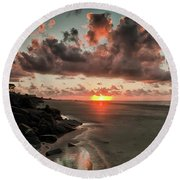 Sunrise Over The Beach Round Beach Towel