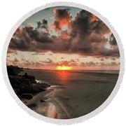 Sunrise Over The Beach Round Beach Towel