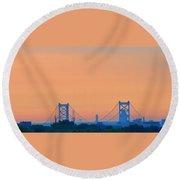 Sunrise Over The Ben Franklin Bridge Round Beach Towel
