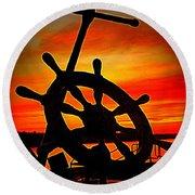 Sunrise Over The Captain's Wheel 2 Round Beach Towel