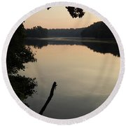 Sunrise Over The Huron River Round Beach Towel