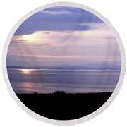 Sunrise Over The Mainland Round Beach Towel