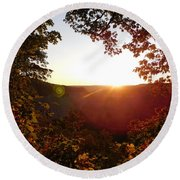 Sunrise Over The Mountain  Round Beach Towel