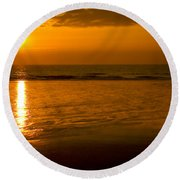 Sunrise Over The Ocean Round Beach Towel
