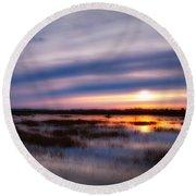 Sunrise Over The Salt Marsh Round Beach Towel